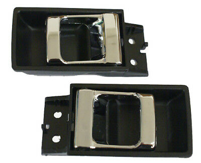 New Inside Door Handles BLACK & CHROME / FOR NISSAN HARDBODY TRUCK & PATHFINDER