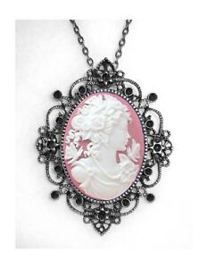 Pink White Dess Vintage Style Cameo
