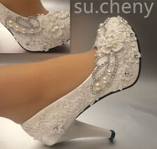 3 4 Heel White Ivory Lace Crystal Pearls Wedding Shoes Pumps Bride Size 5