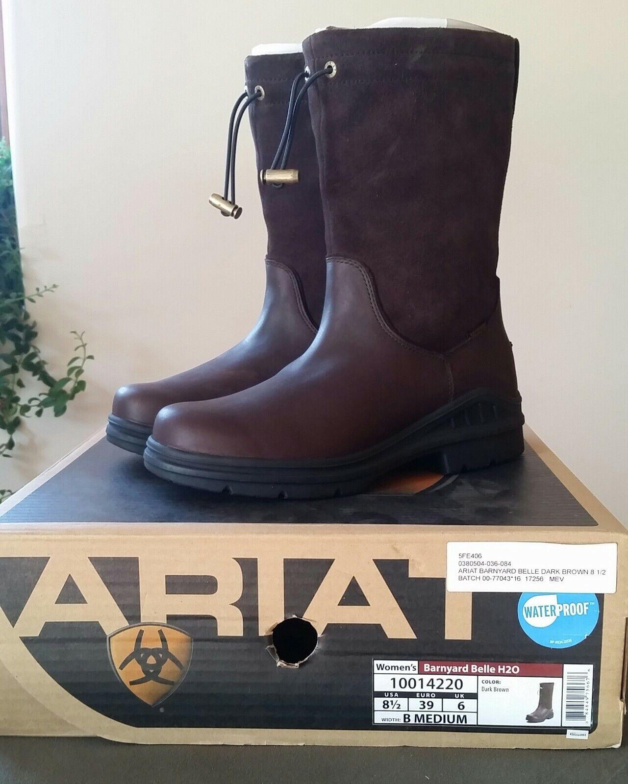 NIB Ariat  Ladies Barnyard Belle H2O Dark Brown Pull on Boots Waterproof, 8.5B  up to 65% off