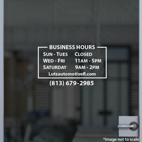 Custom Office Store Business Hours Sticker Vinyl Decal Sign Open Hour Style 37