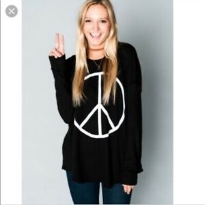 Show-Me-Your-Mumu-Mellow-Black-Peace-Thermal-Tunic-Small