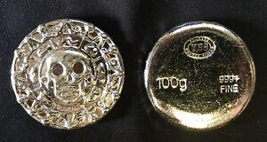 "100 gram Hand Poured 999 Silver Bullion Rd ""Plata Muerta"" (Dead Silver) by YPS"