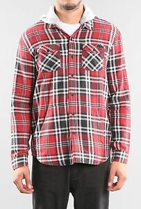 Camisa-Shirt-RUSTY-Talla-Size-L-WINFIELD-HOODED-FLANNEL-SHIRT-CLARET