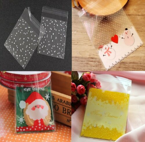 Merry Christmas Cookie Bags Plastic Seal  Sweet Gift Bag Biscuit Bag Cellophane