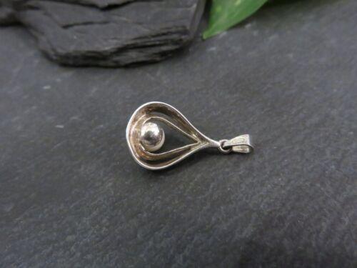 Schöner 925 Silber Anhänger Perle Vintage 60er 70er 80er Matt Retro Elegant Top Biżuteria i akcesoria
