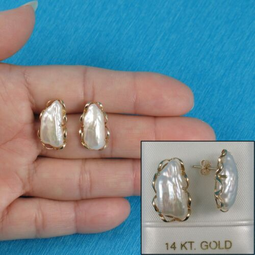 14k Yellow Solid Gold Hand Crafted; Genuine White Biwa Pearl Stud Earrings-TPJ