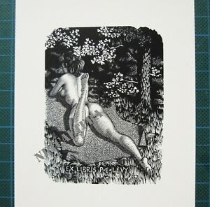 EX-LIBRIS-Bookplate-Mark-SEVERIN-178-Levy-naked-woman-on-belly-in-forest-erotic