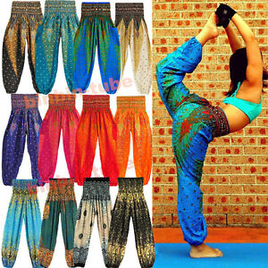 AU-Women-Loose-Bohemian-Thai-Harem-Trousers-Casual-Boho-Hippy-Baggy-Yoga-Pants