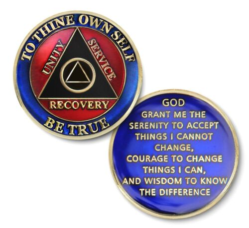 12 Step Recovery Program Enameled Coin//Medallion//Chip No YR Royal Double C//T AA