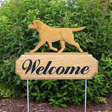 Yellow Labrador Retriever Dog Breed Oak Wood Welcome Outdoor Yard Sign