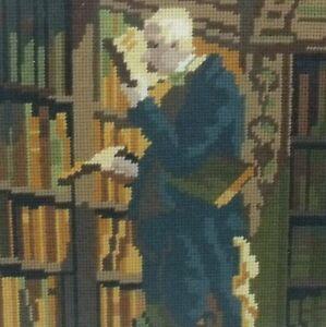170405 Motiviert Goebelin Stickbild Bibliothekar Hinterglas Eingerahmt