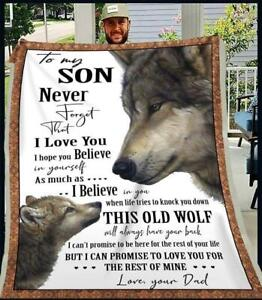 Wolf Dad To My Son I Can Promise To Love You For The Rest Of Mine Fleece Blanket