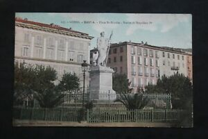 Postcard-Antique-1911-Bastia-Place-st-Nicolas-Statue-Of-Napoleon-1er