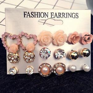 9 Pairs//Set Women/'s Crystal Pearl Flower Ear Studs Earrings Elegant Jewelry Gift