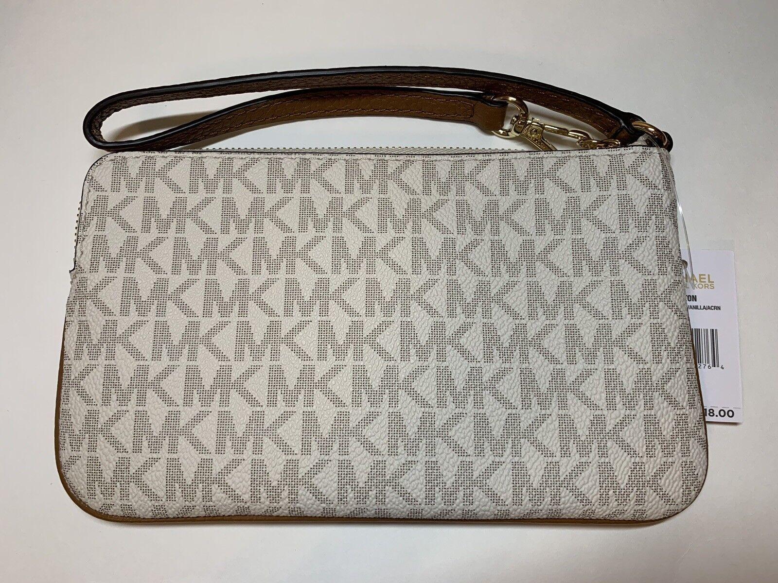 4ac307fba674 Michael Kors Fulton Large Top Zip PVC Leather Wristlet MK Signature Vanilla  for sale online | eBay
