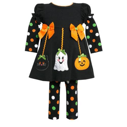 NWT BONNIE JEAN Halloween POLKA DOT girl set Long sleeve leggings pants 18 m $54