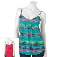 Weavers Juniors Sleeveless Abstract Stripe V Neck Tank Top