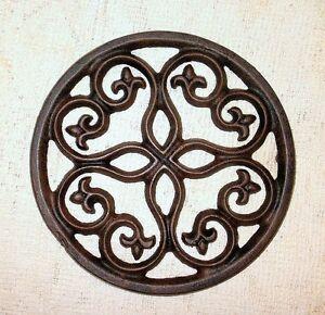 New Cast Iron Round Trivet Wall Decor Gothic