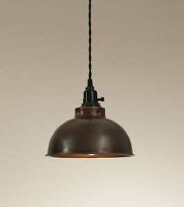 New Rustic Dome Pendant Lamp Aged Copper Plug In No Wiring