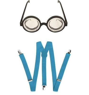 Round Glasses Goggles & Blue Braces Minions Fancy Dress Accessory Set One Size