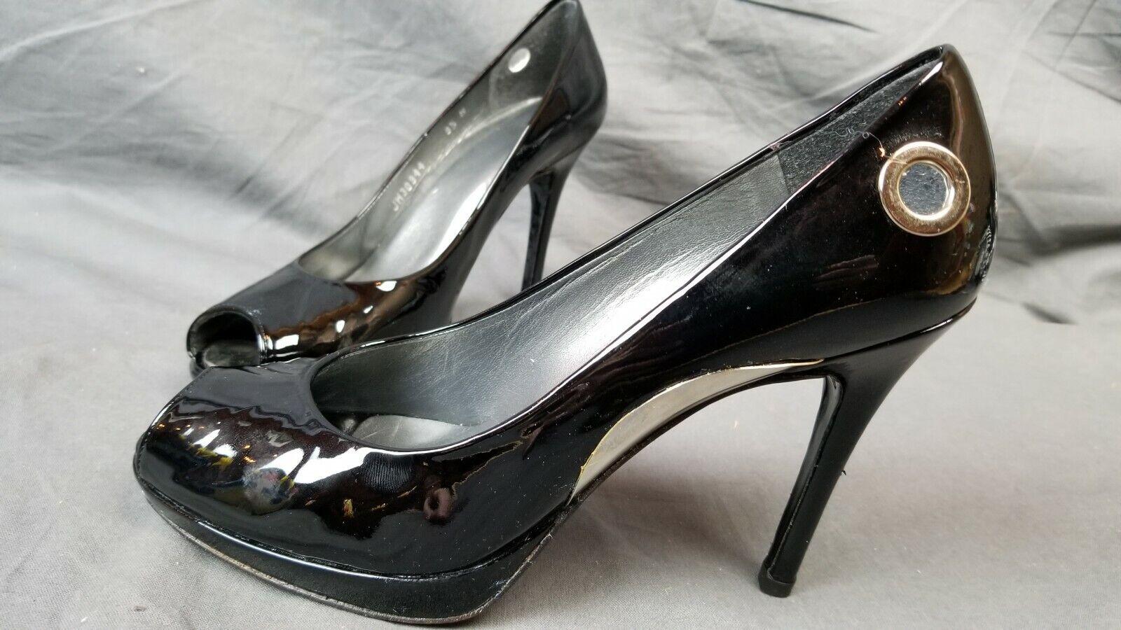 e32f873fb12 Stuart Weitzman Black Patent Leather Peep Toe Pumps Heels 4.25 ...