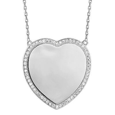 Solitaire Heart Pendant Sterling Silver Simulated Diamond Mini Charm Necklace Set