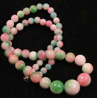 Pretty 6-14mm Multicolor Pink Green Jade Tower Round Beads 18KWGP Clasp Necklace