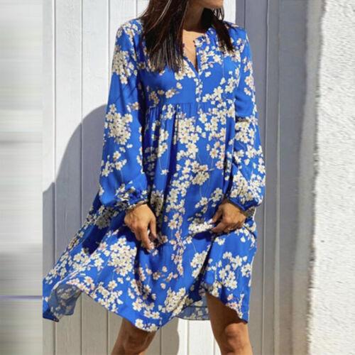 ZANZEA Women Bohemian Lantern Sleeve Mini Dress Summer Holiday Shirt Dress Plus