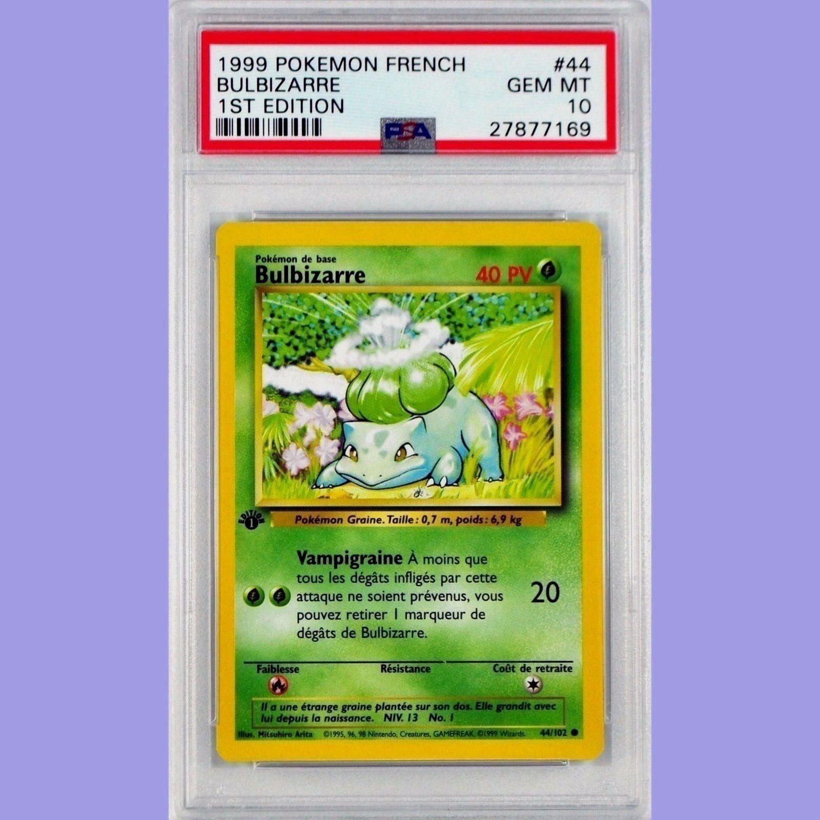 Pokemon, 1. ausgabe bulbasaur (bulbizarre) 44   102 französischer basisbeschreibung psa 10 gem minze