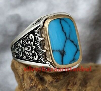 Sizable Blue Turquoise Handmade Jewellry 925 Sterling Silver Plated 9 Grams Ring Size 5 US Gorgeous