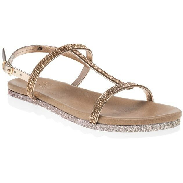 New femmes SOLE or Metallic Sindy Leather Sandals Flats Buckle