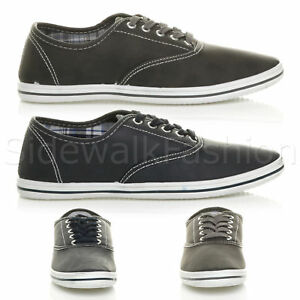 Mens-flat-lace-up-work-smart-plain-casual-pump-plimsoles-trainers-shoes-size