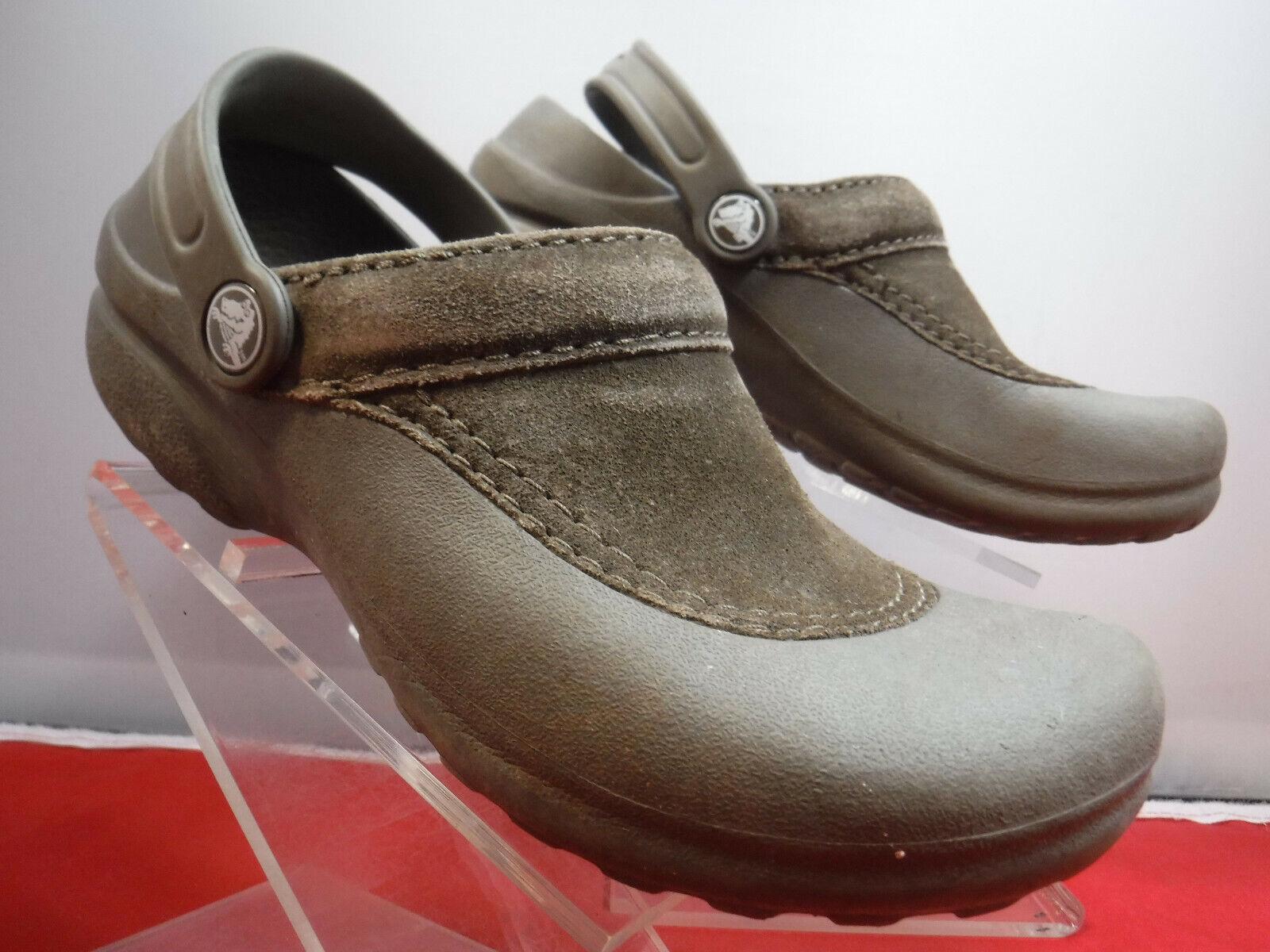 FC12 Crocs 'Troika' Suede Top Clogs W/ Heel Strap, Brown - Women's US Size 6