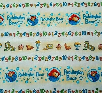 Paddington Numbers BTY Quilting Treasures Bear Colorful Blue