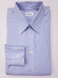 Ascot-Chang-Dress-Shirt-Blue-Striped-15-5-Mens-Size-Cotton-Long-Tall-Custom-Sz