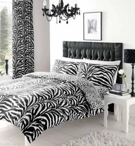 Tiger//Zebra Skin Print Reversible Duvet Quilt Cover Bedding Set with Pillowcase