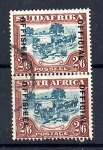 South-Africa-1931-2s-6d-Official-fine-used-pair-SG011-19mm-WS19921