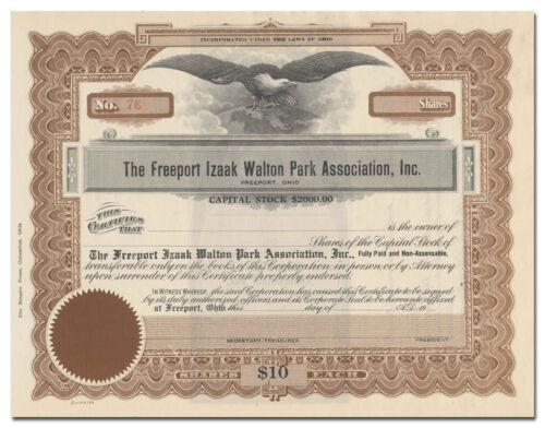 Inc Ohio Freeport Izaak Walton Park Association Stock Certificate