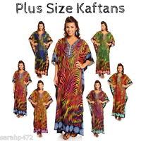 SARAH-P PLUS SIZE ETHNIC TRIBAL PRINT LONG KAFTAN DRESS FREE SIZE 18-28 NEW