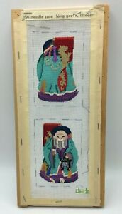 2-SIDED-Chinese-Immortal-DEDE-Handpainted-PETIT-POINT-CANVAS-Partially-Worked