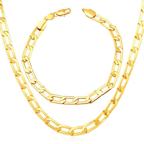 """18K Gold //Platinum// Rose Gold Plated Link Chain Necklace Bracelet Sets 18-30/"""""""