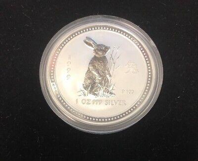1999 Australian lunar Chinese Zodiac Coin Year of the Rabbit .999 Silver 1oz