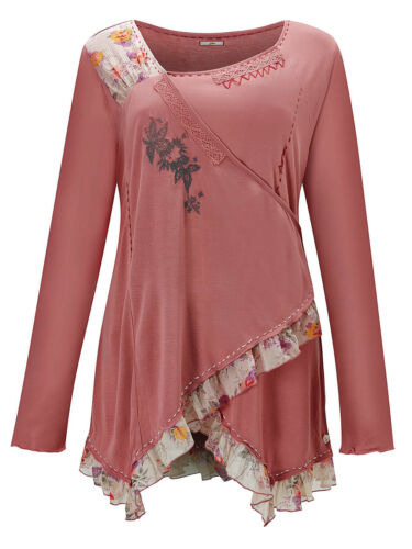 Joe Browns Pretty PINK Stretchy Wrap Front Floral Trim Top Plus Size 12 to 26