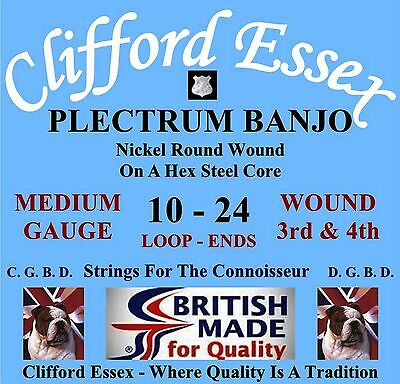 CLIFFORD ESSEX PLECTRUM BANJO STRINGS. MEDIUM. WOUND 3RD & 4TH. MADE IN BRITAIN.