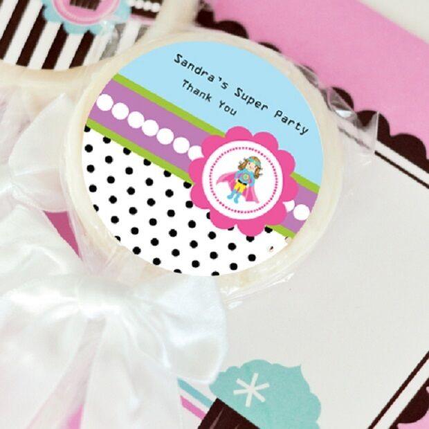 24 Super Hero Girl Lollipops Personalized Lollipop Birthday Party Favors