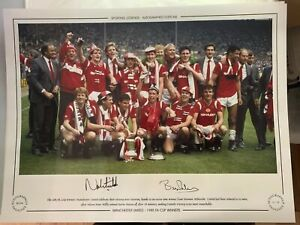 Manchester United Stars Bryan Robson Norman Whiteside Signed Ltd Edit 49 99 Ebay