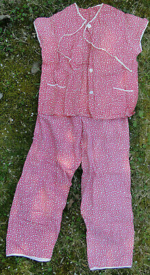 Ehrgeizig Truevintage Schlafanzug Luftige Baumwolle Rot Mit Quadraten Ca. 34/36