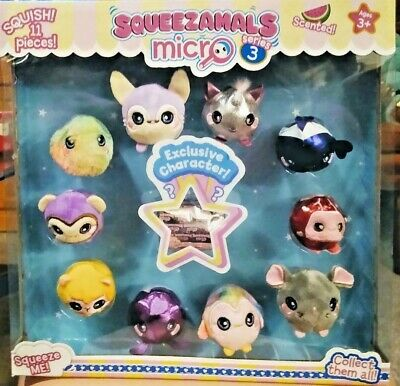 Micro Squeezamals 3 Pack Lot of 3 Series 3 Scented Slow-Rise Foam Plush