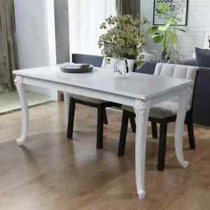 Detalles de vidaXL Mesa Comedor 80x80x76/116x66x76 cm Blanco Brillante  Cuadrada Elegante